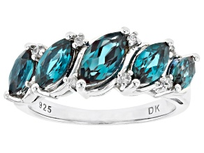 Pre-Owned Teal Lab Created Alexandrite Rhodium Over Silver Ring 1.73ctw