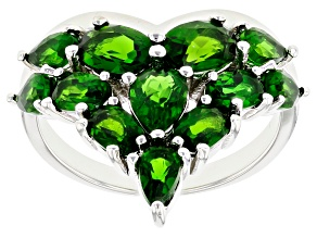 Pre-Owned Green Chrome Diopside Rhodium Over Silver Ring 2.99ctw