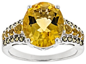 Pre-Owned Yellow citrine rhodium over sterling silver ring 3.83ctw