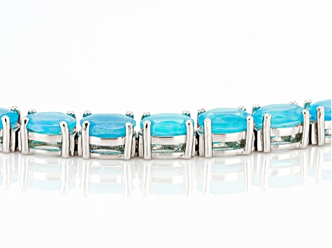 Pre-Owned Blue Opal Rhodium Over Silver Bracelet 6.90ctw