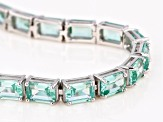 Pre-Owned Green Lab Created Spinel Rhodium Over Silver Bracelet 17.87ctw