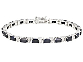 Pre-Owned Blue Sapphire Rhodium Over Silver Bracelet 12.38ctw