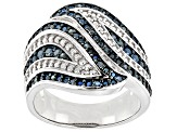 Pre-Owned Blue Diamond Rhodium Over Sterling Silver Ring 0.30ctw