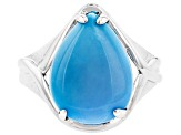 Pre-Owned Sleeping Beauty Turquoise Rhodium Over Silver Ring