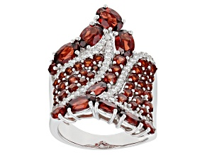 Pre-Owned Red garnet rhodium over sterling silver ring 6.06ctw