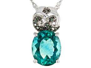 Pre-Owned Teal fluorite rhodium over sterling silver pendant with chain 4.46ctw