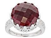 Pre-Owned Ruby Rhodium Over Sterling Silver Solitaire Ring 10.00ctw