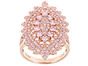 Pre-Owned Pink Cubic Zirconia 18K Rose Gold Over Sterling Silver Cluster Ring 2.76ctw