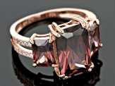Pre-Owned Blush And White Cubic Zirconia 18k Rose Gold Over Silver Ring 11.34ctw