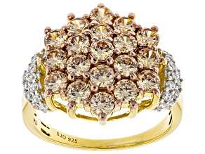 Pre-Owned Brown And White Cubic Zirconia 18K Yellow Gold Over Sterling Silver Ring 4.23ctw