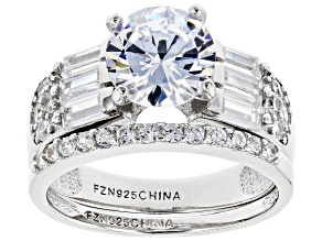 Pre-Owned White Cubic Zirconia Rhodium Over Sterling Silver Engagement Ring With Band 4.01ctw