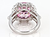 Pre-Owned Pink and White Cubic Zirconia Rhodium Over Sterling Silver Ring 19.47ctw