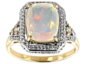 Pre-Owned Multi-color Ethiopian Opal 14k Yellow Gold Ring 2.29ctw