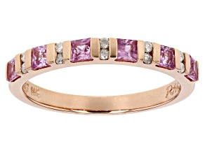 Pre-Owned Pink Sapphire And White Diamond 14k Rose Gold Ring .69ctw