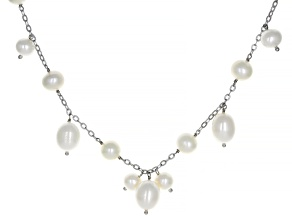 Pre-Owned White Cultured Freshwater Pearl Sterling Silver 36 Inch Station Necklace 7-10mm