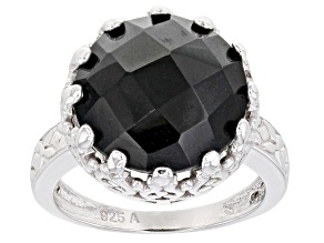 Pre-Owned  Black Spinel Rhodium Over Sterling Silver Ring 11.00ctw