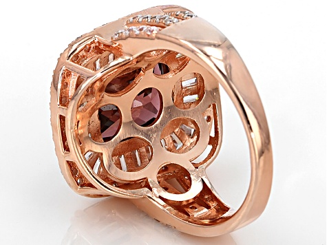 Pre-Owned Purple And White Cubic Zirconia 18k Rose Gold Over Sterling Silver Ring 11.12ctw