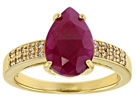 Pre-Owned Red Ruby 18k Gold Over Silver Ring 3.49ctw