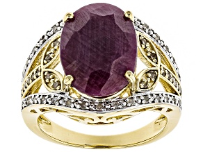 Pre-Owned Red Ruby 18k Gold Over Silver Ring 5.21ctw