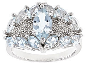Pre-Owned Blue aquamarine rhodium over sterling silver ring 2.09ctw