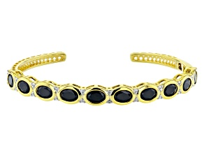Pre-Owned Black spinel 18k yellow gold over silver cuff bracelet 6.64ctw