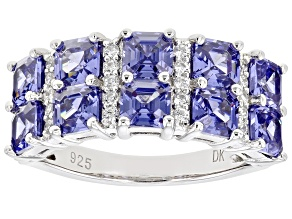 Pre-Owned Blue And White Cubic Zirconia Rhodium Over Sterling Silver Ring 6.22ctw