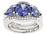 Pre-Owned Blue and White Cubic Zirconia Rhodium Over Sterling Silver Ring With Bands 6.25ctw