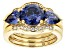 Pre-Owned Blue and White Cubic Zirconia 18K Yellow Gold Over Sterling Silver Ring With Bands 6.25ctw