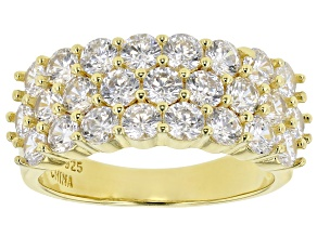Pre-Owned White Cubic Zirconia 18K Yellow Gold Over Sterling Silver Ring 4.28ctw