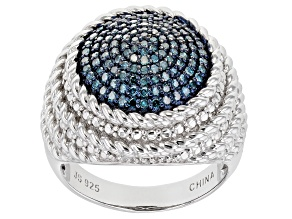Pre-Owned Blue Diamond Rhodium Over Sterling Silver Dome Ring .50ctw