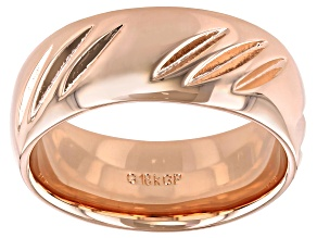 Pre-Owned Moda Al Massimo® 18k Rose Gold Over Bronze Comfort Fit 8MM Diamond Cut Band Ring