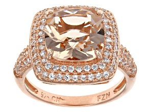Pre-Owned Morganite Simulant And Cubic Zirconia 18k Rose Gold Over Silver Ring 4.10ctw