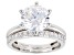 Pre-Owned White Cubic Zirconia Rhodium Over Sterling Silver Solitaire Ring With Band 7.03ctw (4.12ct
