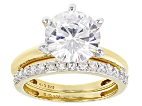 Pre-Owned White Cubic Zirconia 18K Yellow Gold Over Sterling Silver Solitaire Ring With Band 7.03ctw