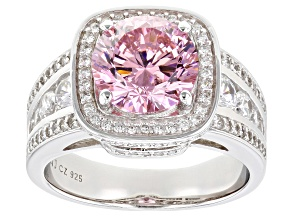 Pre-Owned Pink And White Cubic Zirconia Rhodium Over Sterling Silver Ring 6.80ctw