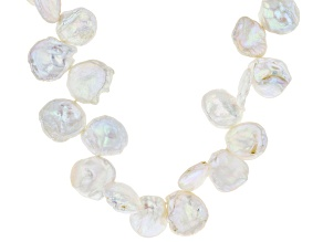 Pre-Owned Cultured Keshi Freshwater Pearl Rhodium Over Silver 18 Inch Necklace With 2 Inch Extender