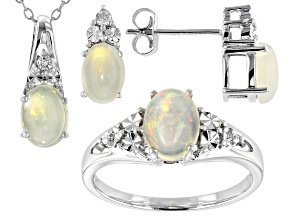 Pre-Owned Ethiopian Opal With Round White Diamond Rhodium Over Sterling Silver Jewelry Set 1.42ctw