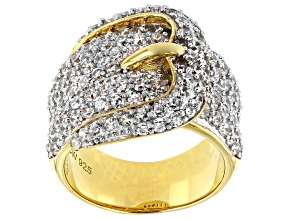 Pre-Owned White Cubic Zirconia 18k Yellow Gold Over Sterling Silver Buckle Ring 3.53ctw