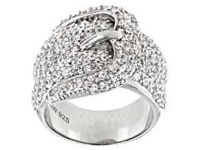 Pre-Owned White Cubic Zirconia Rhodium Over Sterling Silver Buckle Ring 3.53ctw