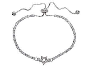 Pre-Owned White Cubic Zirconia Rhodium Over Sterling Silver Adjustable Star Bracelet 3.11ctw