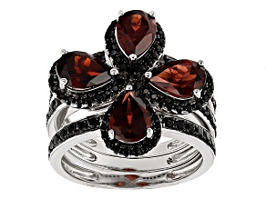 Pre-Owned Red Garnet Rhodium Over Sterling Silver Stackable 3 Ring Set 4.20ctw