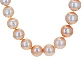 Pre-Owned Peach Cultured Freshwater Pearl 18k Gold Over Silver Necklace 21 inch