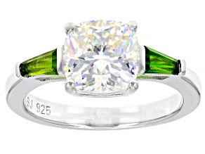 Pre-Owned Fabulite Strontium Titanate and chrome diopside rhodium over silver ring 3.68ctw