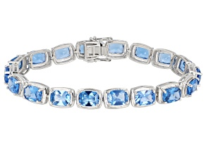 Pre-Owned Blue Lab Created Spinel Rhodium Over Silver Bracelet 21.11ctw