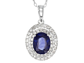 Pre-Owned Blue Mahaleo Sapphire And White Zircon Rhodium Over Sterling Silver Pendant With Chain 3.4