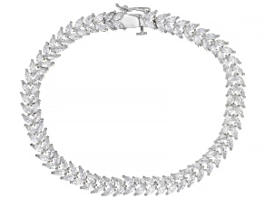 Pre-Owned White Cubic Zirconia Rhodium Over Sterling Silver Tennis Bracelet 13.41ctw