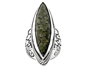 Pre-Owned Rainforest Jasper Cabochon Silver Solitaire Ring