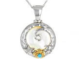 Pre-Owned Pacific Style™ White Mother of Pearl Floral Enhancer With Chain