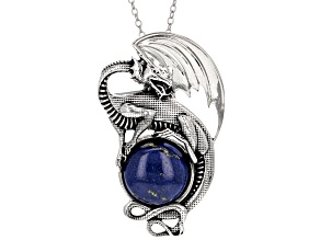 Pre-Owned Blue Lapis Lazuli Sterling Silver Pendant With Chain