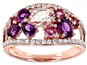 Pre-Owned Grape Color Garnet, Morganite, Tourmaline, & Diamond 14K Rose Gold Ring 2.34ctw
